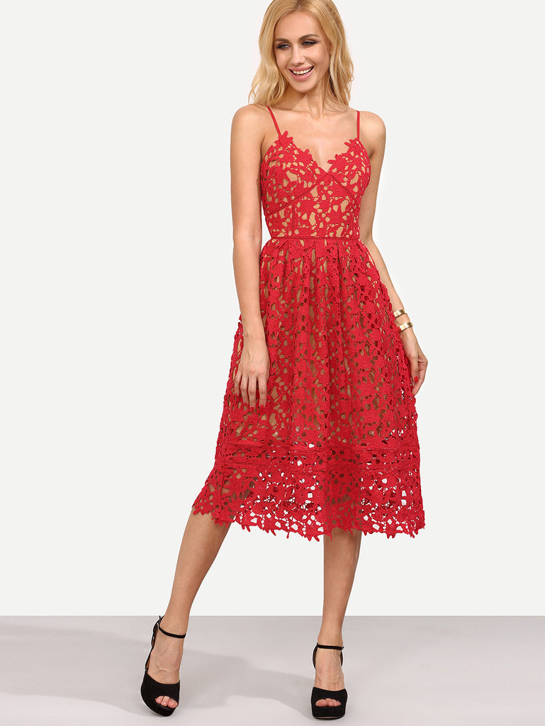 Hollow Out Fit & Flare Lace Cami Dress - The Style Syndrome  - 1
