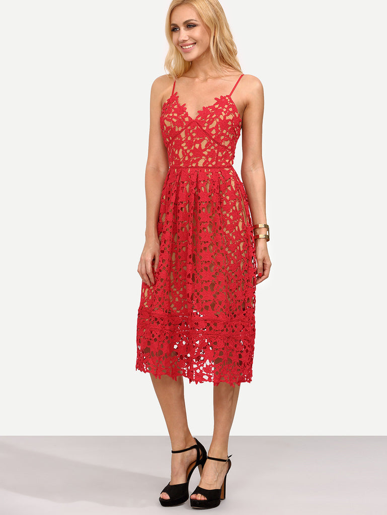 Hollow Out Fit & Flare Lace Cami Dress - The Style Syndrome  - 2