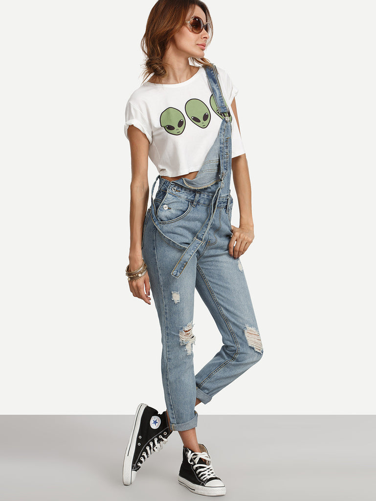 Ripped Stone Wash Denim Overall Jeans - The Style Syndrome  - 3