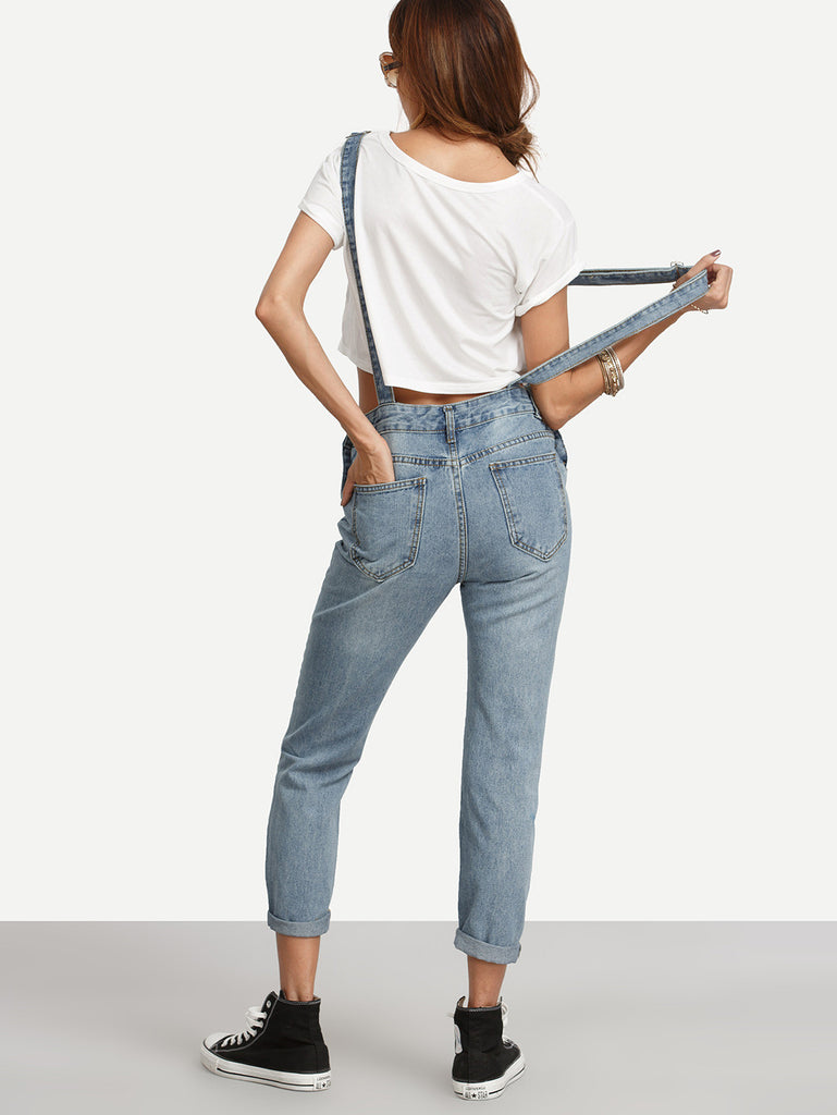 Ripped Stone Wash Denim Overall Jeans - The Style Syndrome  - 5