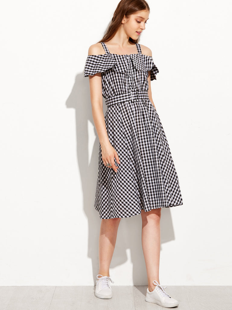Black Checkerboard Fold Over Cold Shoulder Dress - The Style Syndrome