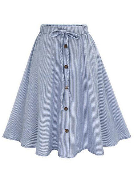 Blue Vertical Striped Buttoned Front Skirt - The Style Syndrome  - 1
