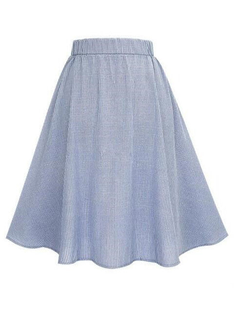 Blue Vertical Striped Buttoned Front Skirt - The Style Syndrome  - 2