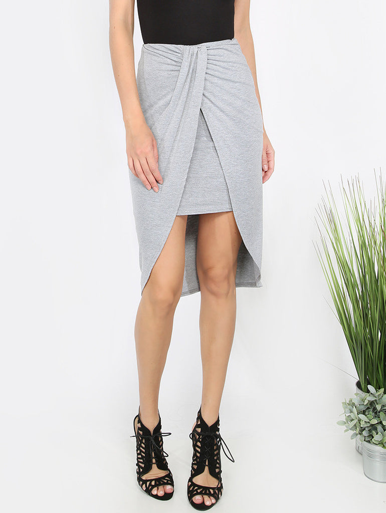 Grey Pleated Asymmetrical Skirt - The Style Syndrome  - 1
