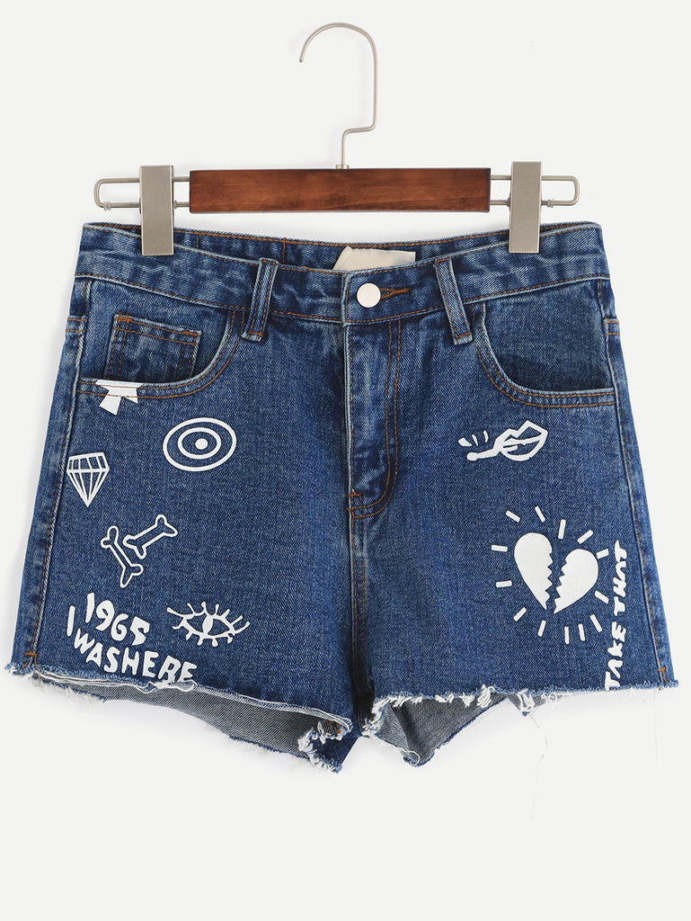 Blue Letter Print Denim Shorts - The Style Syndrome  - 1