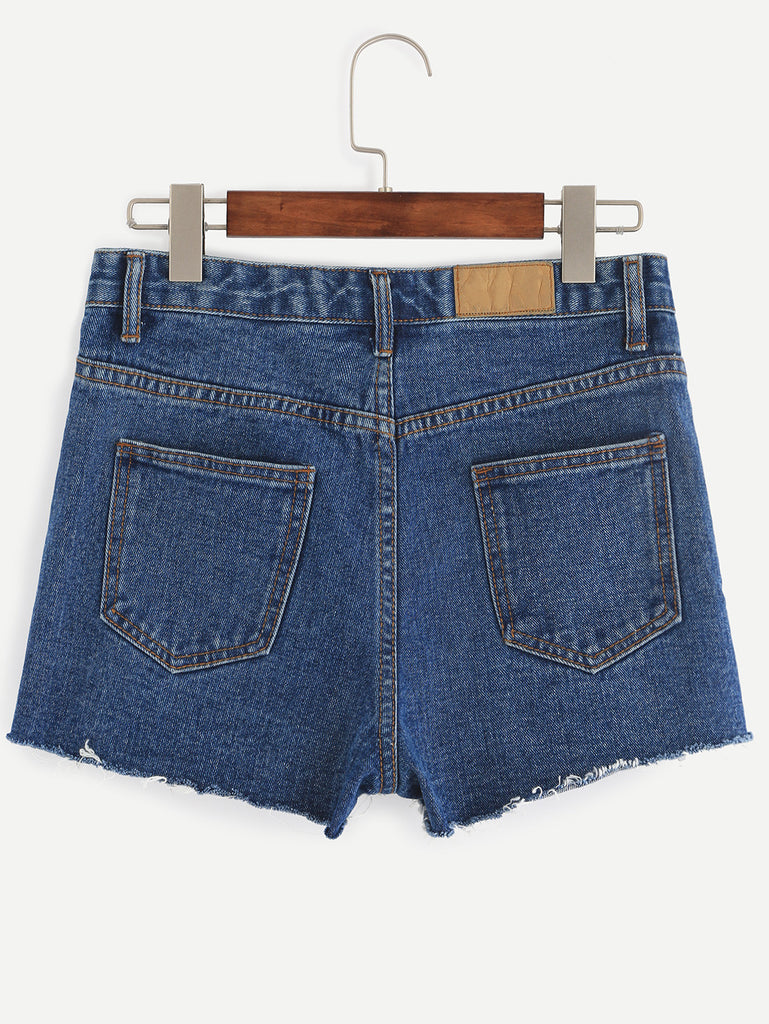 Blue Letter Print Denim Shorts - The Style Syndrome  - 3