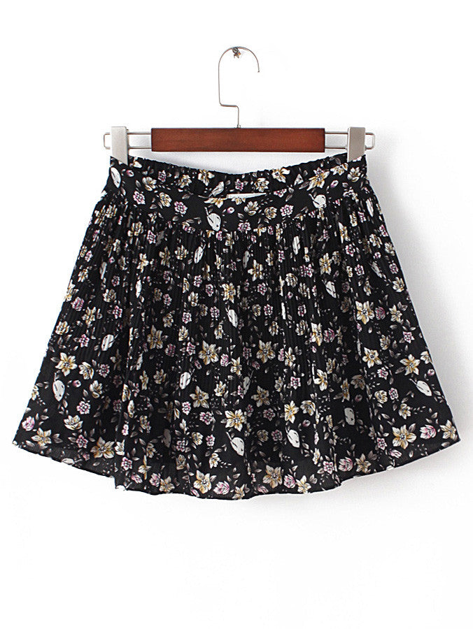 Floral Elastic Waist Ruffle Shorts - The Style Syndrome  - 1