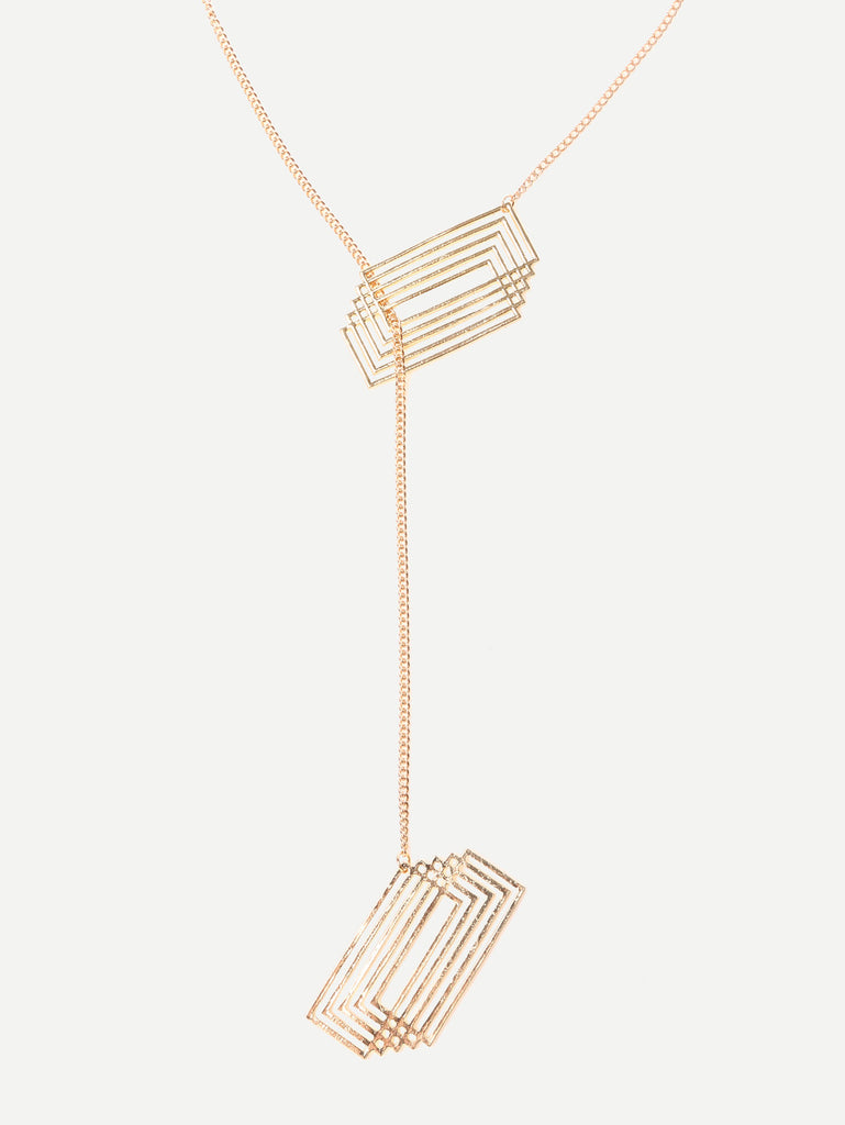 Golden Geometric Pendant Necklace - The Style Syndrome  - 1