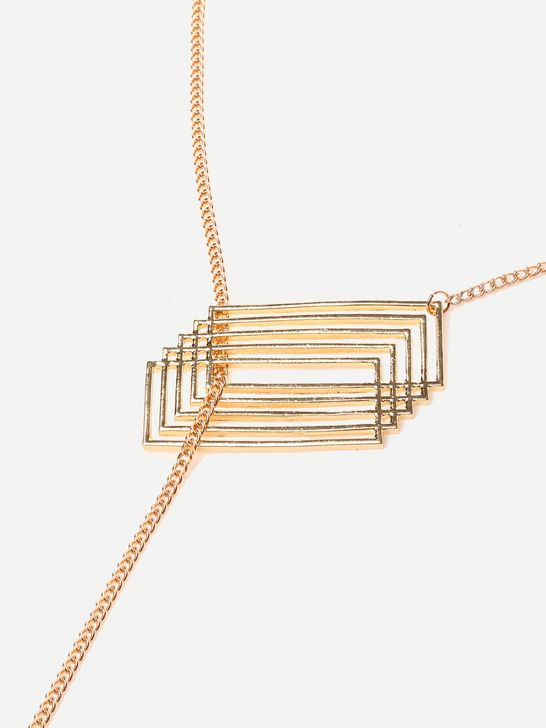 Golden Geometric Pendant Necklace - The Style Syndrome  - 2