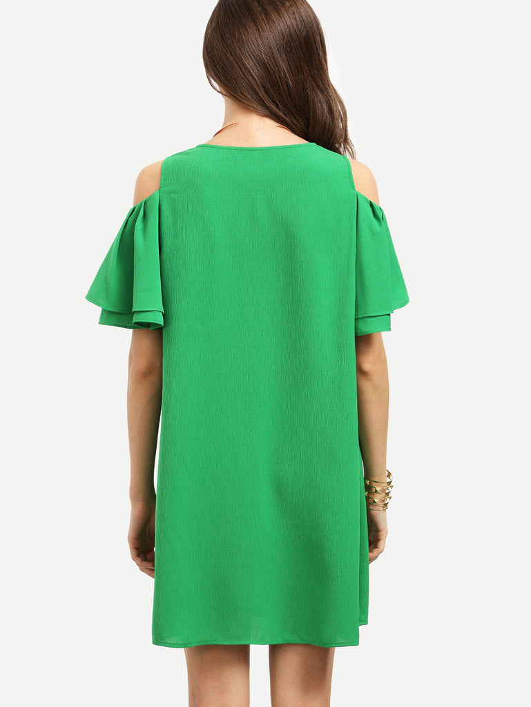 RZX Green Cold Shoulder Ruffle Sleeve Shift Dress - The Style Syndrome  - 3