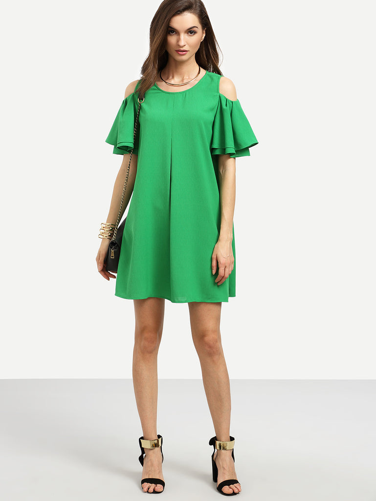 RZX Green Cold Shoulder Ruffle Sleeve Shift Dress - The Style Syndrome  - 2