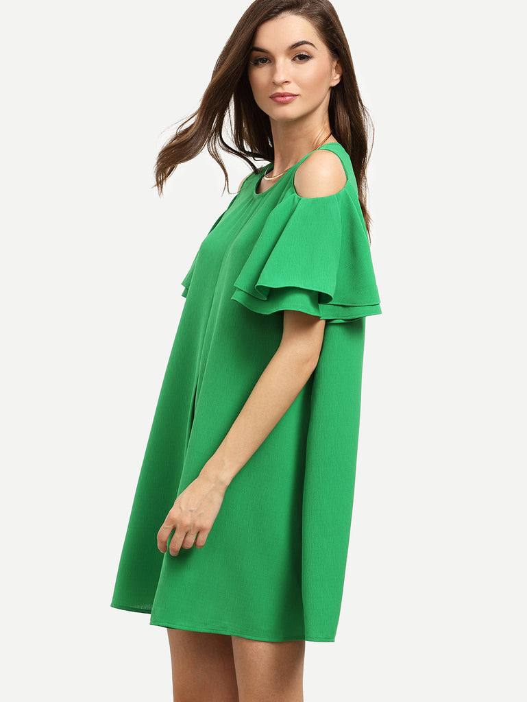 RZX Green Cold Shoulder Ruffle Sleeve Shift Dress - The Style Syndrome  - 4