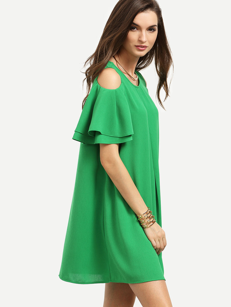 RZX Green Cold Shoulder Ruffle Sleeve Shift Dress - The Style Syndrome  - 5