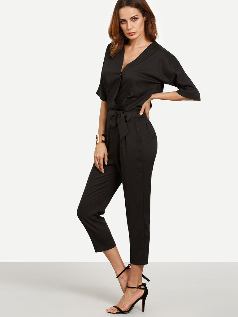 Black Surplice Front Self Tie Jumpsuit - The Style Syndrome  - 2