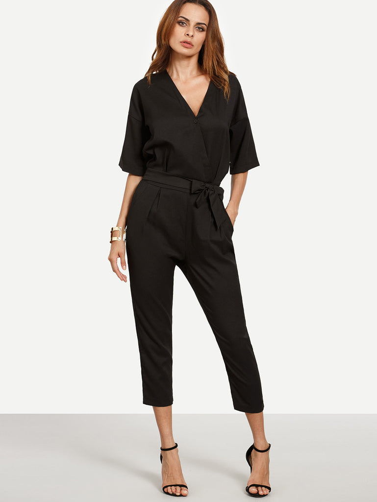Black Surplice Front Self Tie Jumpsuit - The Style Syndrome  - 1