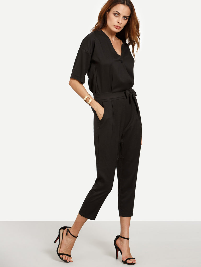 Black Surplice Front Self Tie Jumpsuit - The Style Syndrome  - 5