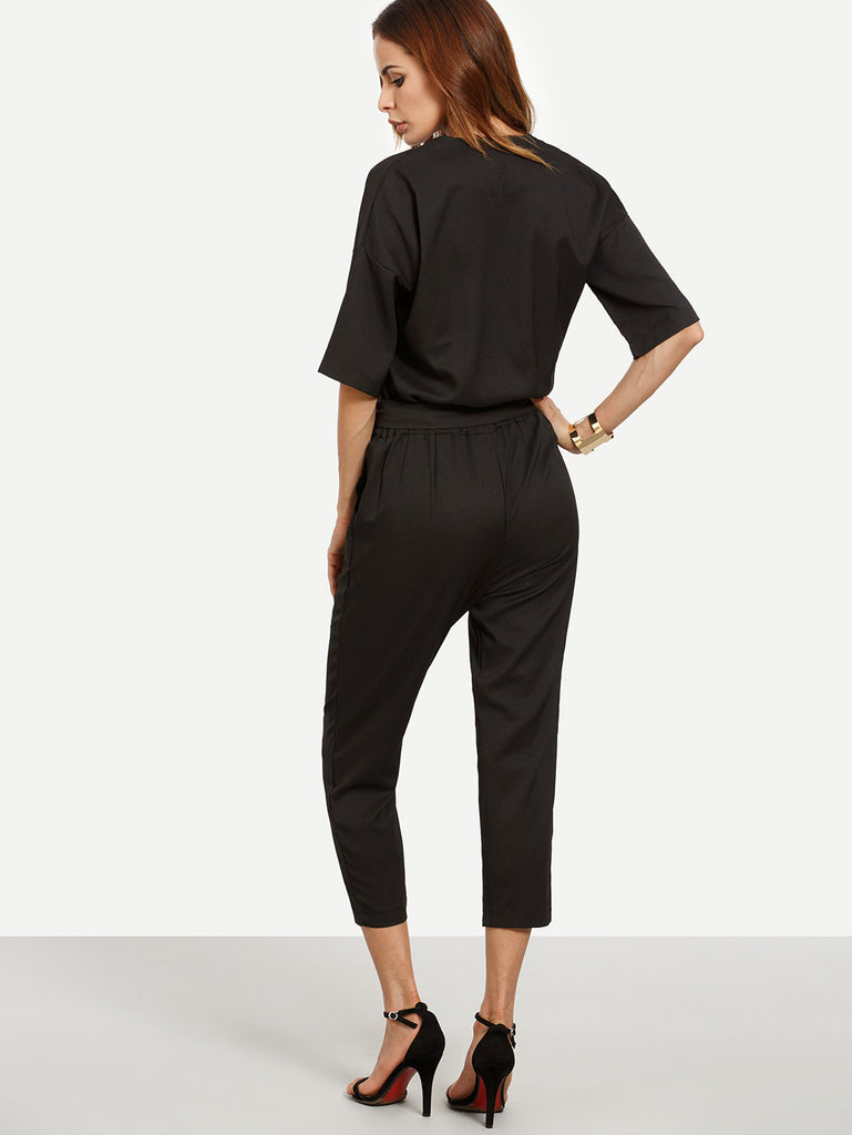Black Surplice Front Self Tie Jumpsuit - The Style Syndrome  - 3