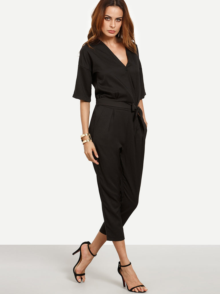 Black Surplice Front Self Tie Jumpsuit - The Style Syndrome  - 4