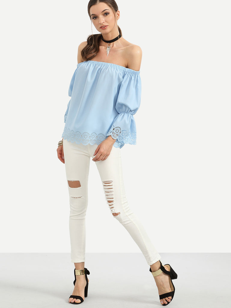 Blue Off The Shoulder Elasticated Blouse - The Style Syndrome  - 3