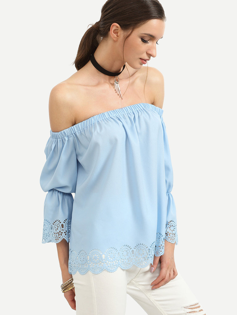 Blue Off The Shoulder Elasticated Blouse - The Style Syndrome  - 4