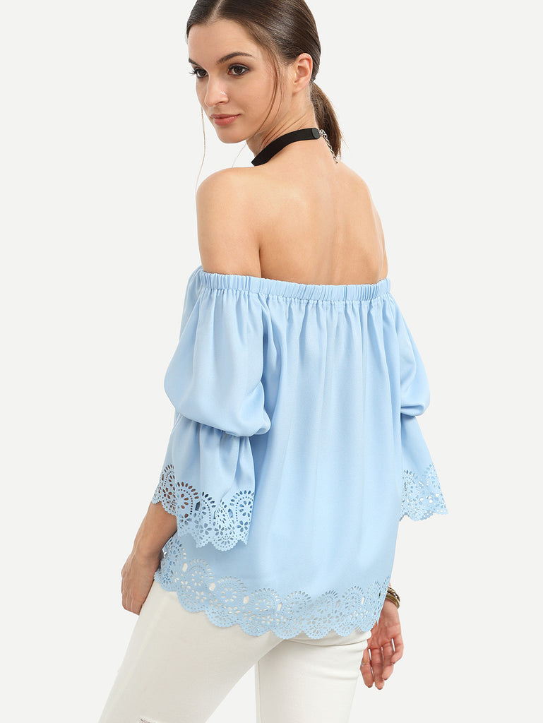 Blue Off The Shoulder Elasticated Blouse - The Style Syndrome  - 2