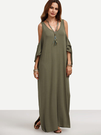 Army Green Cold Shoulder Backless Maxi Dress - The Style Syndrome