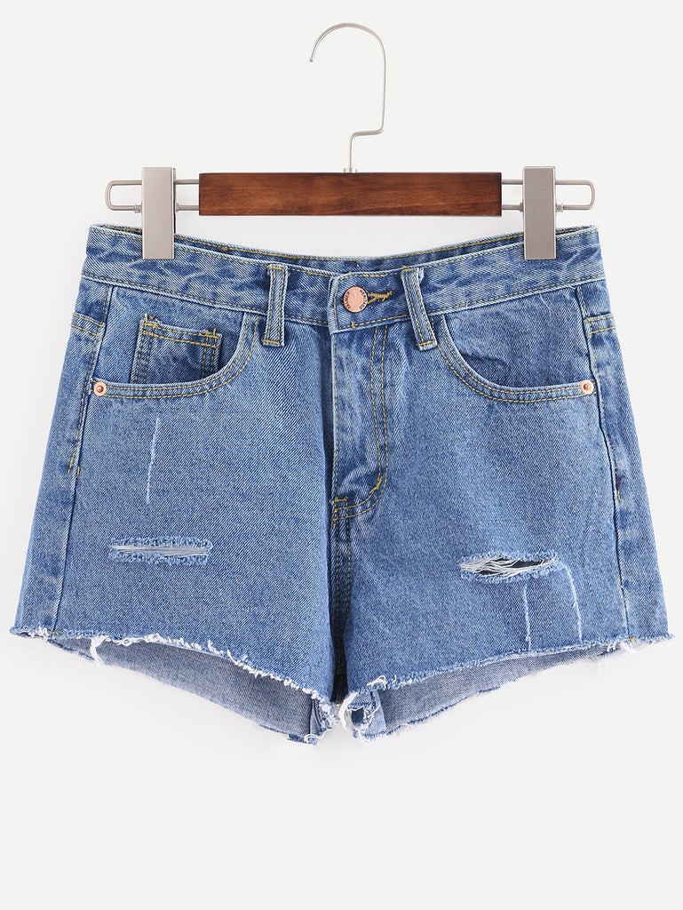 Blue Ripped Raw Hem Denim Shorts - The Style Syndrome  - 1