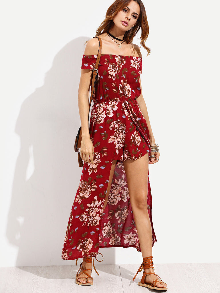 Burgundy Flower Print Off The Shoulder High Low Romper - The Style Syndrome  - 1