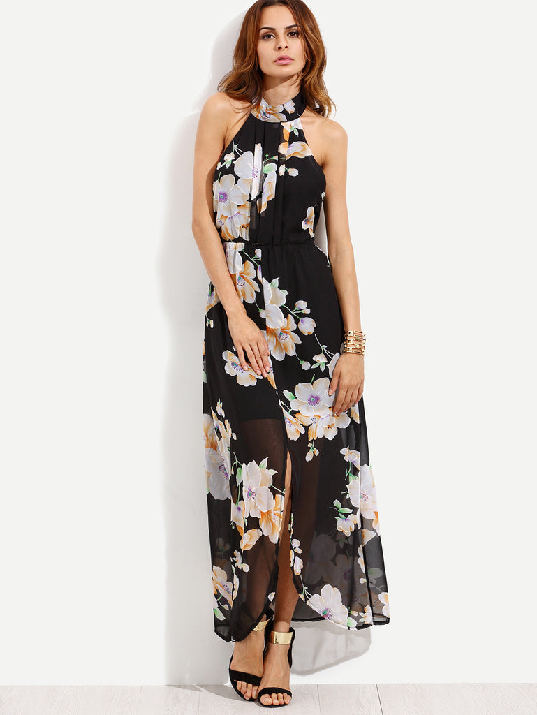 Black Flower Print Halter Neck Slit Chiffon Dress - The Style Syndrome