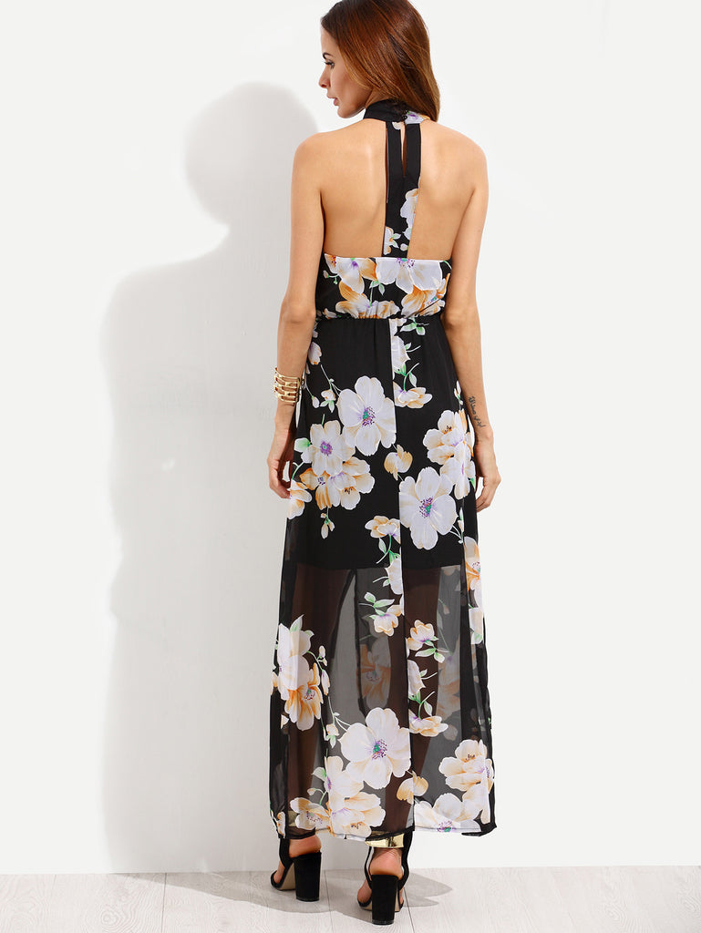 Black Flower Print Halter Neck Slit Chiffon Dress - The Style Syndrome  - 4