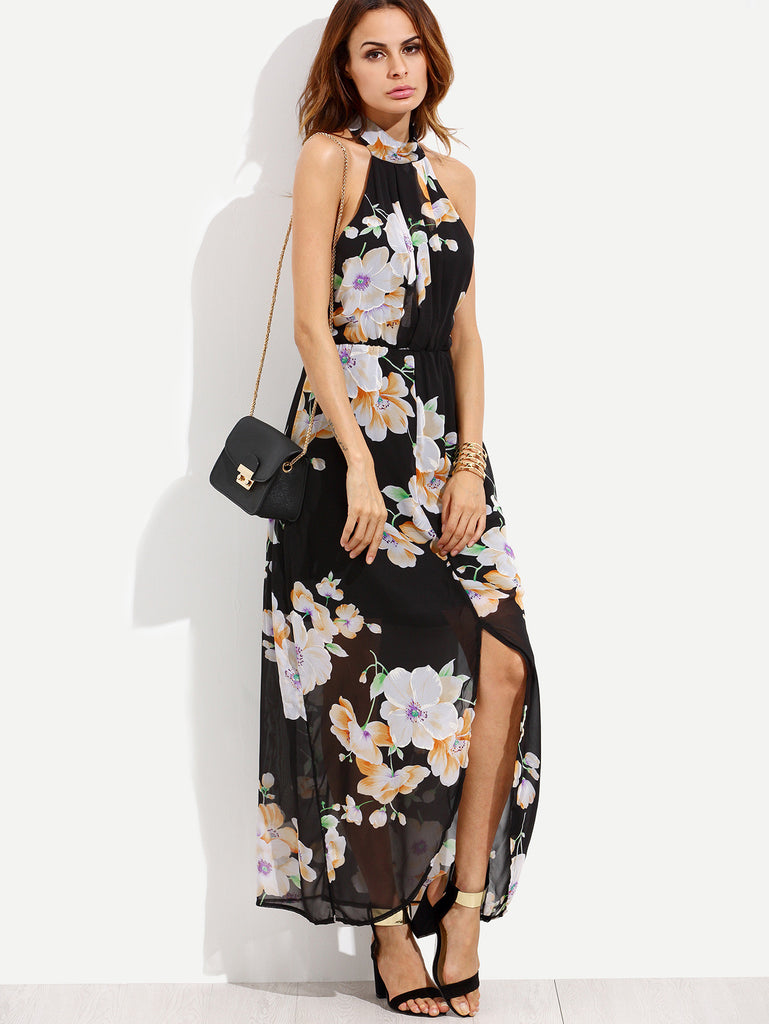 Black Flower Print Halter Neck Slit Chiffon Dress - The Style Syndrome  - 3