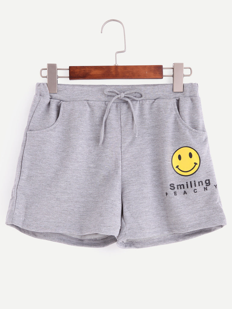 Grey Smiley Face Print Drawstring Shorts - The Style Syndrome  - 1