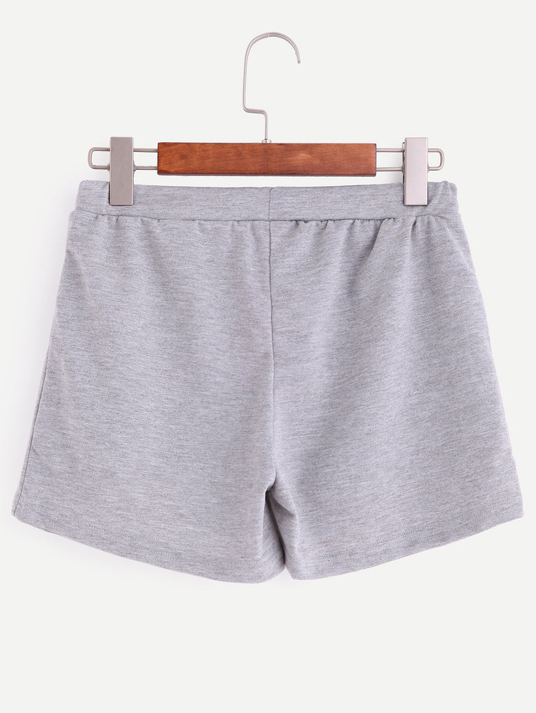 Grey Smiley Face Print Drawstring Shorts - The Style Syndrome  - 4