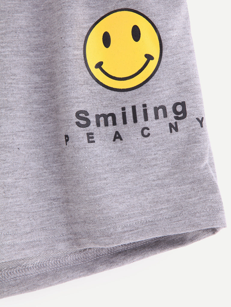 Grey Smiley Face Print Drawstring Shorts - The Style Syndrome  - 3