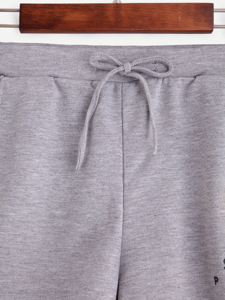 Grey Smiley Face Print Drawstring Shorts - The Style Syndrome  - 2