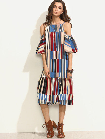 Colorful Printed Cold Shoulder Ruffle Dress - The Style Syndrome  - 1