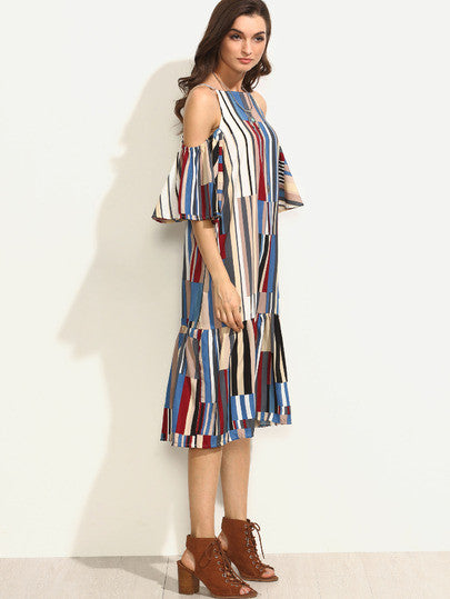 Colorful Printed Cold Shoulder Ruffle Dress - The Style Syndrome  - 4