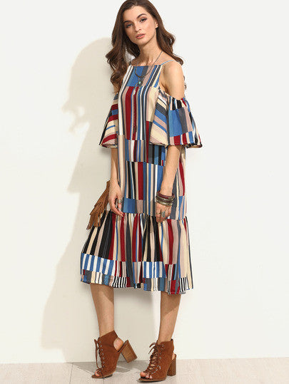 Colorful Printed Cold Shoulder Ruffle Dress - The Style Syndrome  - 3