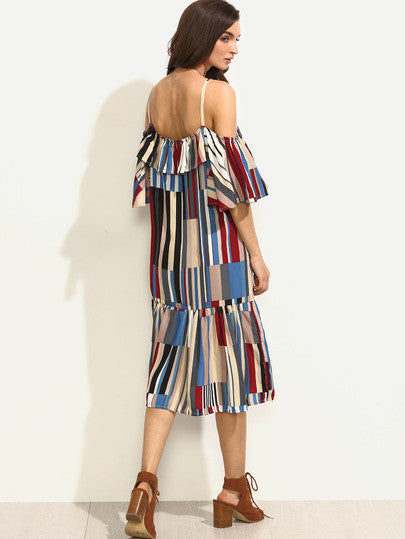 Colorful Printed Cold Shoulder Ruffle Dress - The Style Syndrome  - 2