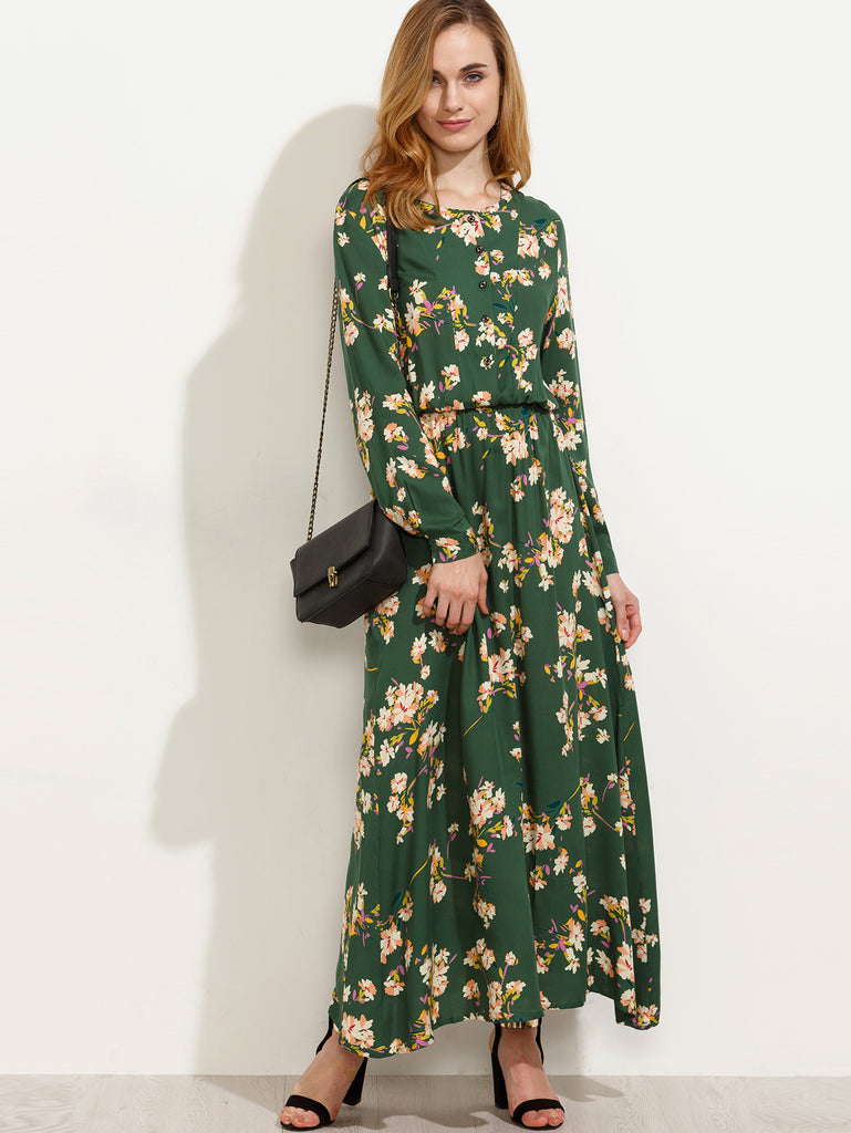 Green Blossom Print Buttoned Front Dress - The Style Syndrome  - 1