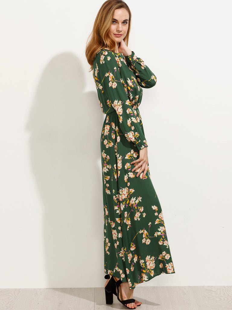 Green Blossom Print Buttoned Front Dress - The Style Syndrome  - 2