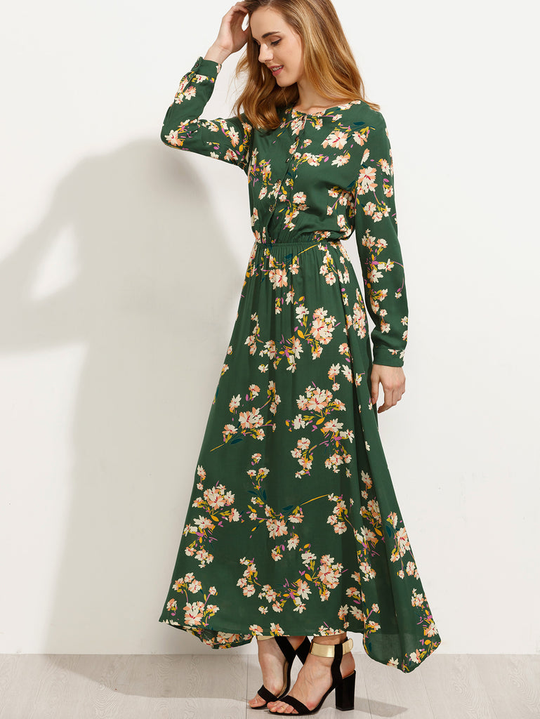 Green Blossom Print Buttoned Front Dress - The Style Syndrome  - 4