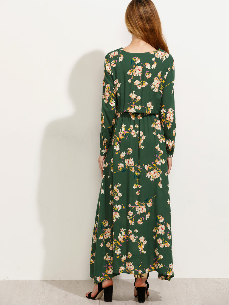 Green Blossom Print Buttoned Front Dress - The Style Syndrome  - 3