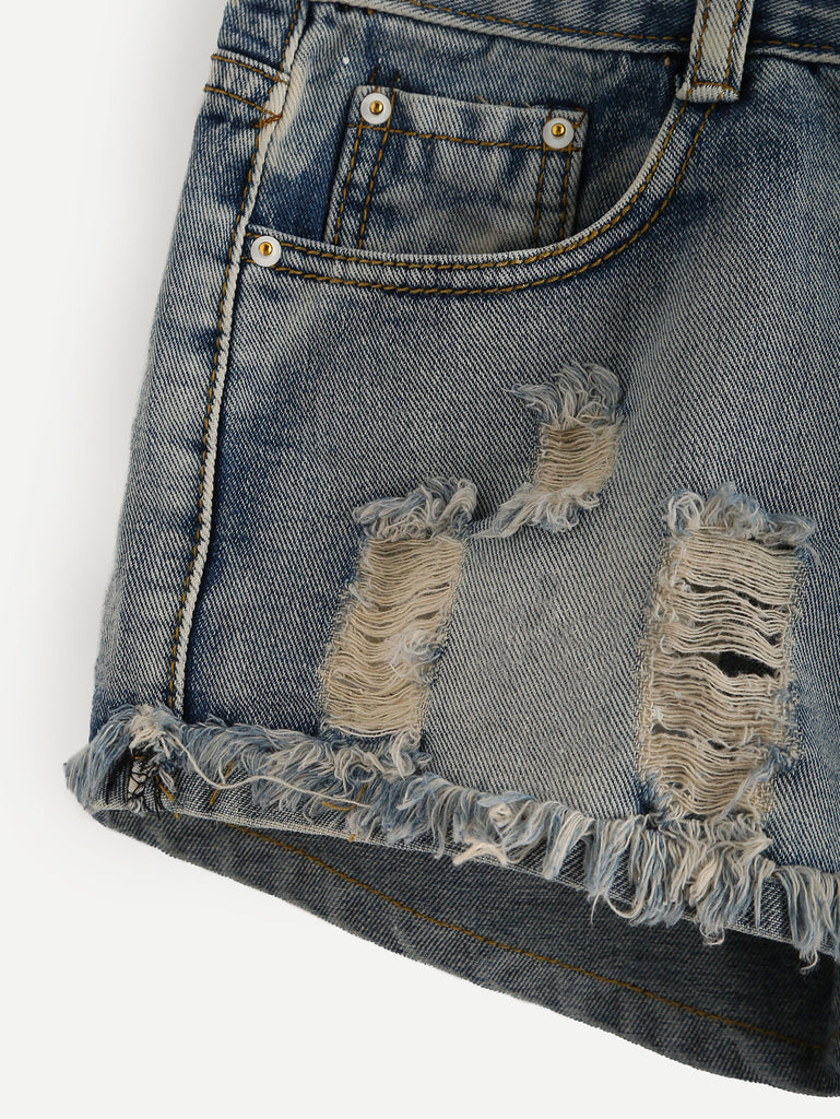 Blue Ripped Raw Hem Denim Shorts - The Style Syndrome  - 3