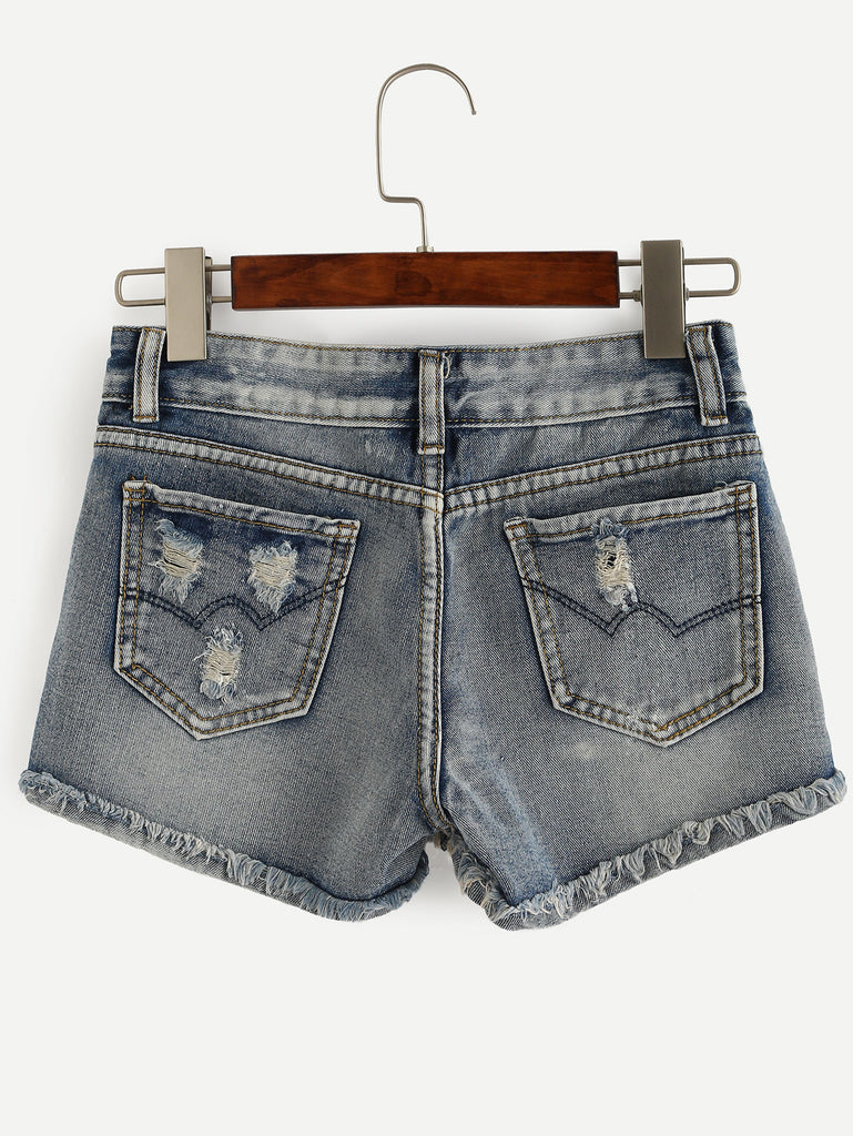 Blue Ripped Raw Hem Denim Shorts - The Style Syndrome  - 2