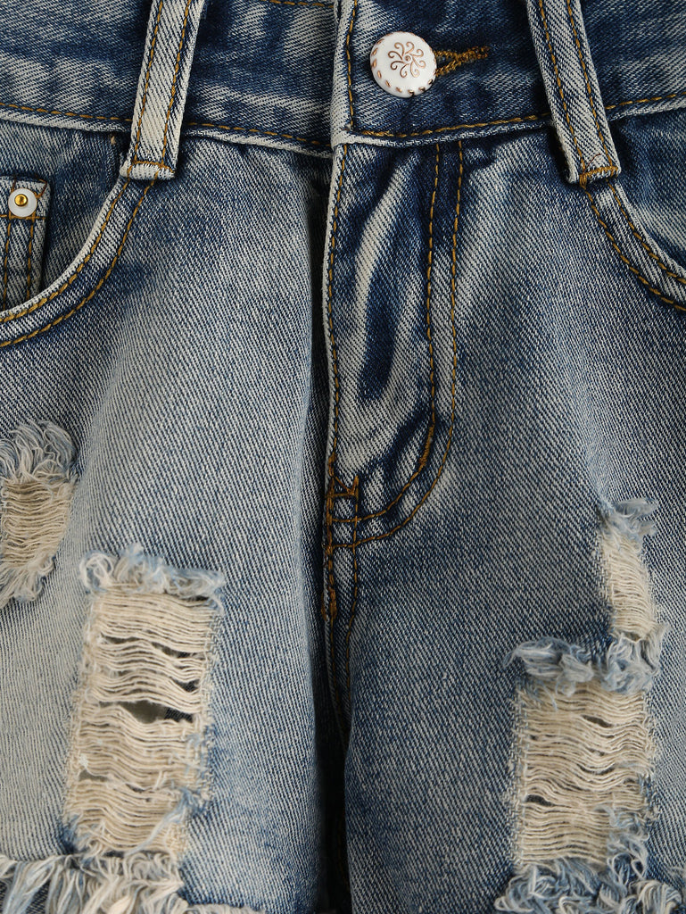 Blue Ripped Raw Hem Denim Shorts - The Style Syndrome  - 4