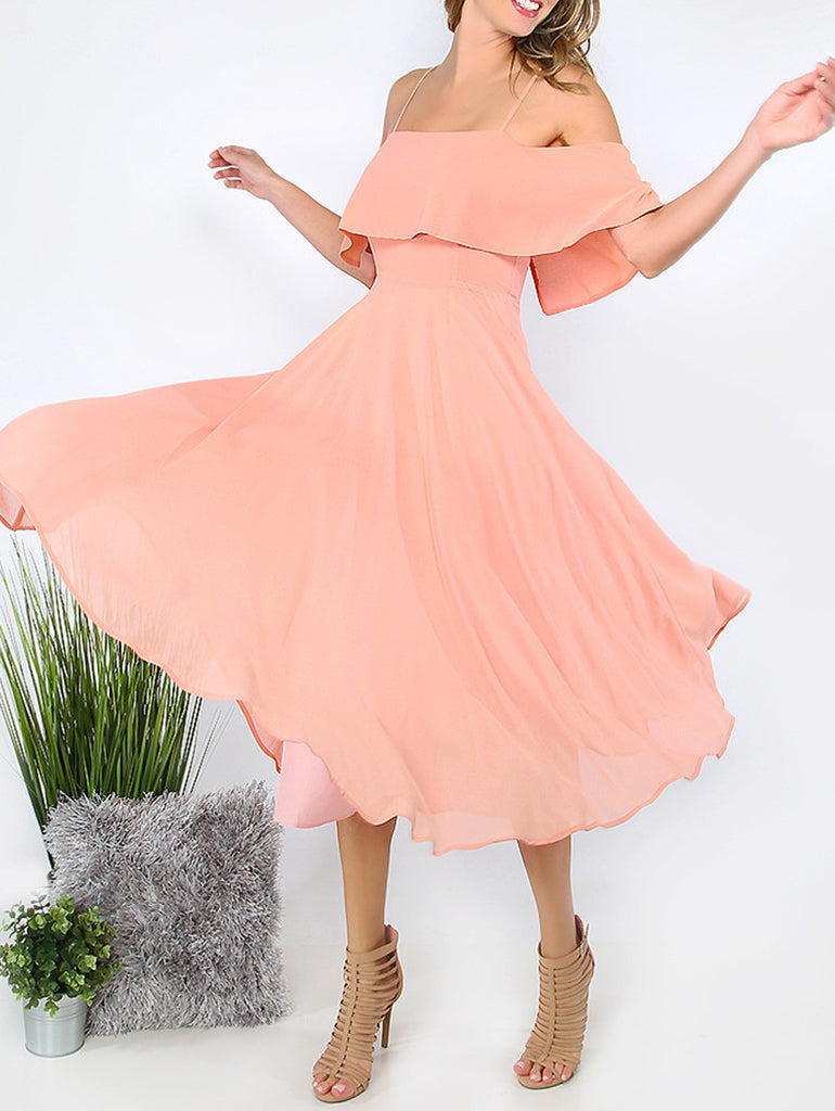 Pink Spaghetti Strap Ruffle Dress - The Style Syndrome  - 5
