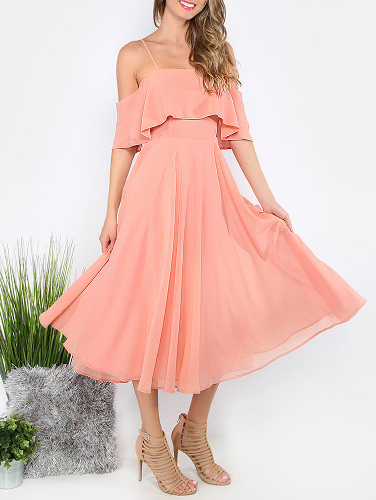 Pink Spaghetti Strap Ruffle Dress - The Style Syndrome  - 6