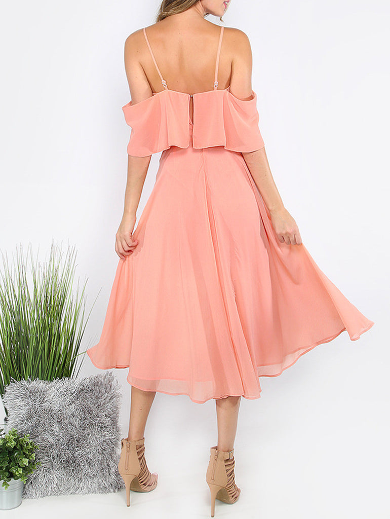 Pink Spaghetti Strap Ruffle Dress - The Style Syndrome  - 7