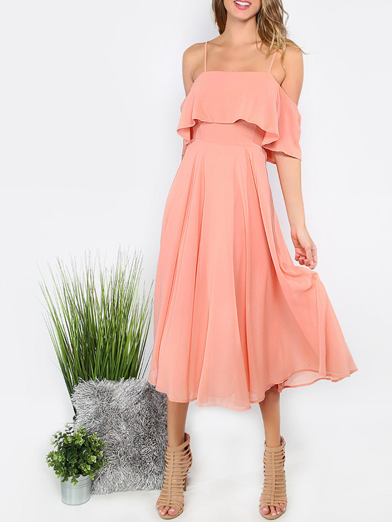 Pink Spaghetti Strap Ruffle Dress - The Style Syndrome  - 9